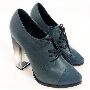 ASOS Platform Heel Size 6/ US 8 Lucite Blue Green